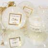 Εικόνα με Μπομπονιέρα αρωματικό κερί λευκό γυάλινο με άρωμα cotton