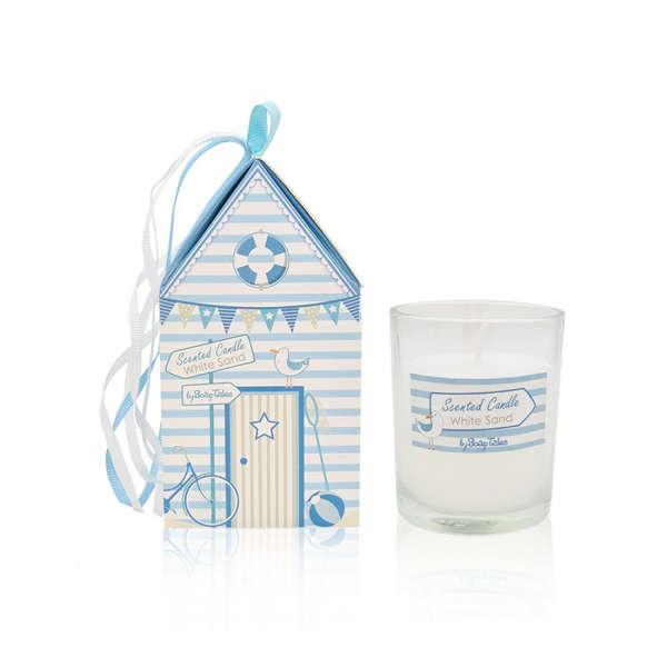 Εικόνα με Μπομπονιέρα αρωματικό κερί σπιτάκι παραλία σιέλ