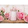 Εικόνα με Μπομπονιέρα αρωματικό κερί ροζ ριγέ πουά