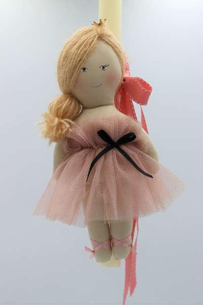Εικόνα με Λαμπάδα πασχαλινή με χειροποίητη ροζ κούκλα