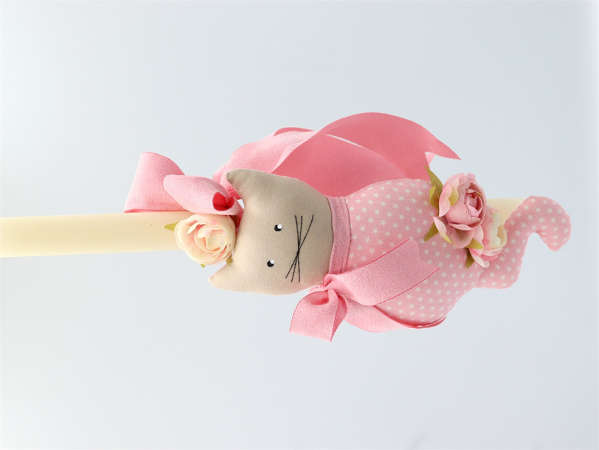 Εικόνα με Πασχαλινή λαμπάδα ροζ γατούλα