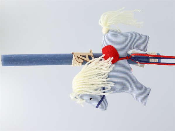 Εικόνα με Λαμπάδα πασχαλινή υφασμάτινο αλογάκι
